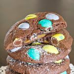 Simply Klassic Home: Caramel Stuffed Chocolate Cookies with Coconut MnM's
