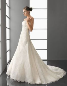 Strapless princess A-line lace bridal gown