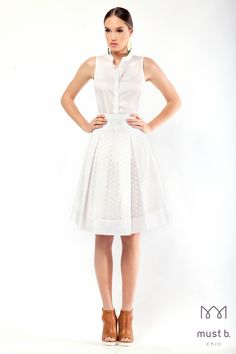 White shirt and fashionable white skirt with lace. Spring Summer 2015