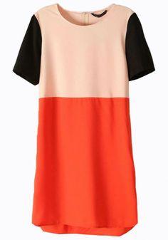 Apricot Color Block Short Sleeve Chiffon Dress