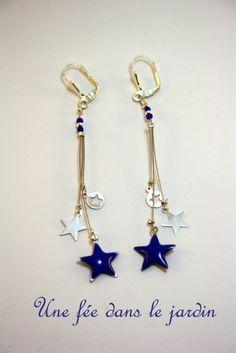 boucles d'oreilles bohème Cosmos argent et bleu : Boucles d'oreille par une-fee-dans-le-jardin