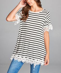 Look what I found on #zulily! Black & White Stripe Crochet Lace-Trim Short-Sleeve Tunic #zulilyfinds
