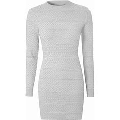 Grey Cable Knit Jumper Dress (£19) ❤ liked on Polyvore featuring dresses, grey, long sleeve body con dress, scoop neck dress, bodycon dress, scoop-neck dresses and long sleeve bodycon dress