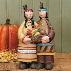 Native American Couple with Basket Figurine