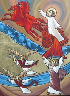 Elijah and Elisha Orthodox Christianity, Religious Icons, Orthodox Icons, Bible Stories, Christian Art, Egypt, Cartoon, Hope Beel, Catechism