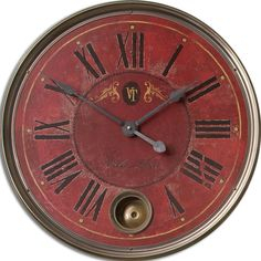 The Villa Tiesto weathered clock features a laminated face With cast brass details and an internal pendulum. This piece will compliment many decor styles. Finish: Weathered red Requires one (1) AA bat