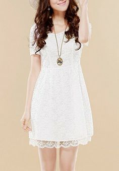 White Hollow-out Pleated Cap Sleeve Lace Dress