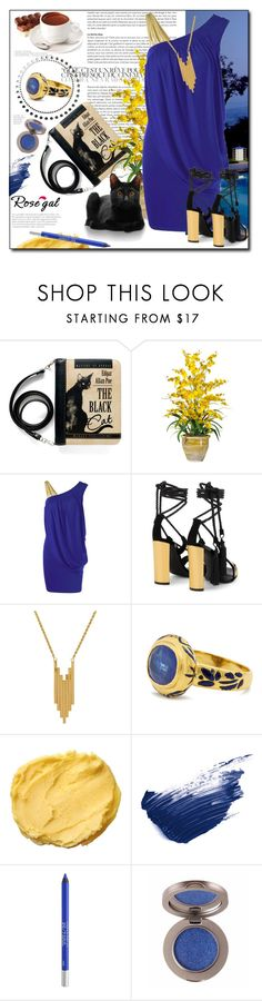 """""""One Strap Skew Collar Slimming Drape Dress"""" by pal-0 ❤ liked on Polyvore featuring Nearly Natural, Giuseppe Zanotti, Lord & Taylor, Jade Jagger, By Terry and Urban Decay"""