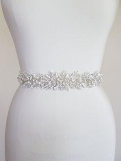 Bridal crystal belt sash Beaded bridal sash by SabinaKWdesign Wedding Dress Sash, Wedding Belts, Wedding Dresses, Bride Belt, Bridal Sash Belt, Caramel Blond, Crystal Belt, Rhinestone Wedding, Bridal Accessories