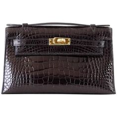 a3a0ee28b4f4 Hermes Kelly Pochette Clutch Bag Shiny Black Alligator Gold. mightychic