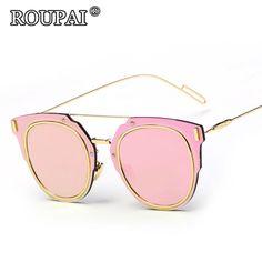 b8af5888f5 ROUPAI Famous Brand Design 2017 Women Polarized Sunglasses Luxury Pink  Coating Mirrored Sun Glasses Steampunk Female