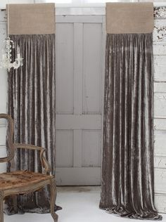 Luscious Soft Earth Silk Velvet with Natural Jute Header Window Curtain