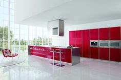 interior design: Modern Kitchen Designs with Red and White Cabinets