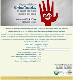 Family Promise Acadiana's #GivingTuesday donation page submission!