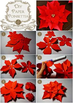 Diy paper poinsettia_cfg More MásDiy paper poinsettia_cfg Not exactly quilling.but, it is paper!Your daily dose of Inspiration: Diy paper poinsettia_cfgDIY Paper Poinsettia {Free Template} I bet this could be done with modeling chocolatePapercraft - Giant Paper Flowers, Felt Flowers, Diy Flowers, Fondant Flowers, Christmas Projects, Holiday Crafts, Christmas Crafts, Christmas Ornaments, Crochet Christmas