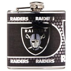 Great American Products 44504 Oakland Raiders Stainless Steel 6 oz. Flask with Metallic Graphics  - NFL Licensed #44504 from mwave.com