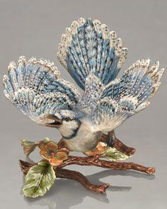 "Jay Strongwater ""Courbett"" Blue Jay on Branch Figure"