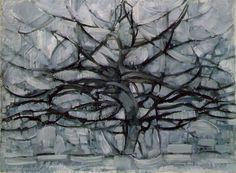 [p.#192] Piet Mondrian (Dutch, 1972-1944). The Grey Tree, 1911. Oil on canvas; 109.1 x 79.7 cm. Netherlands: Haags Gemeentemusem, Found by: Victoria