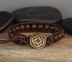 Mens Beaded Leather Bracelet Bronzite on Dark Brown by PJsPrettys