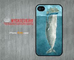 The Whale iPhone 4 case Whale iPhone 4s case White Whale iPhone 4g case iPhone 4 4g 4s Hard/Rubber case-Choose Your Favourite Color by MyCasesKing, $6.99