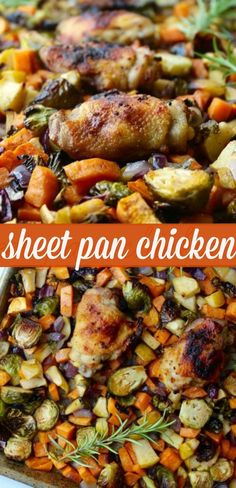 sheet pan chicken with sweet potatoes, brussels sprouts and apples - Off The Eaten Path