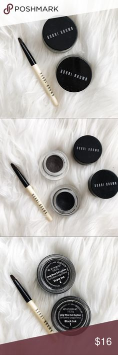 Bobbi Brown Set of 2 Eyeliners • brand: bobbi brown  • condition: each color has been used 4-5 times only  • size: full size  • description: set of 2 eyeliners + brush   • trying to downsize my closet! bundle to save 💰 + accepting reasonable offers, happy shopping! Bobbi Brown Makeup Eyeliner