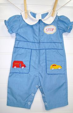 Vintage Baby Clothes/Baby Boy Romper. $16.00, via Etsy.