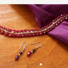6 & 3/4 in Gold & Burgundy Flat Spiral jewelry set 6 and 3/4 inch Gold and Burgundy Flat Spiral Hand Beaded bracelet and magnetic clasp with matching sterling silver hook earrings Handmade Jewelry