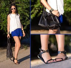 Persunmall Blouse, Persunmall Skorts, Choies Flat Leather Sandals