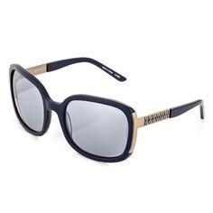 Óculos de sol com lentes cinza degradê e armação em acetato azul e aço  dourado - Vivara 7773384032