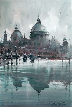 dusan-djukaric-watercolor-santa-maria-della-salute-venecia-36x54-cm