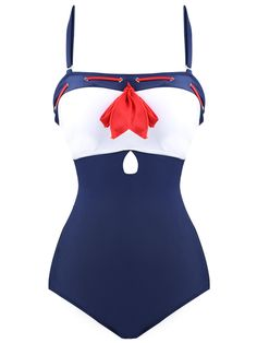 a2165c5b27 blue and white swimsuit with red noeux retro pinup sailor Nautical Swimsuit