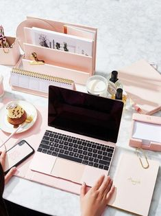 Being organized helps you stay focused. Unless of course you have utterly gorgeous desk accessories like this pink set by and cant stop staring at them. Home Office Ideas Setup Furniture Desks Chairs Tables decorations Decor Gold Office, Office Inspo, Office Ideas, Office Setup, Office Workspace, Corporate Office Decor, Desk Inspo, Pink Office, Office Lounge