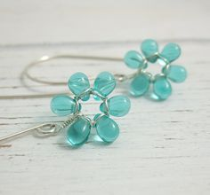 Earrings with Tiny Seafoam Glass Teardrop Flowers on Large French Earring Wires FE-30 by jewelrybyroz on Etsy