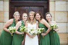 Green One Shoulder Bridesmaid Dress | Graylyn Estate, Elegant Fall Wedding | Logan Jarrard Photography | Leigh Pearce Weddings, Winston Salem North Carolina Wedding Planner