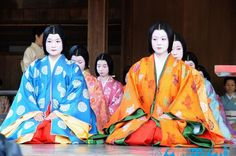 Women dressed in junihitoe for the New Years celebrations. Heian Era, Heian Period, Coffee Cup Set, New Year Celebration, Japanese Kimono, Religion, History, Celebrities, Coats