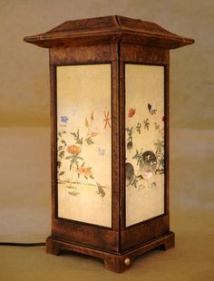 Mulberry Rice Paper Shade Handmade Four Insect Plant Painting Design Square Brown Lantern Asian Oriental Decorative Bedside Bedroom Home Décor Accent Table Light Lamp