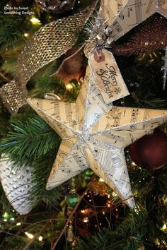 How to Decoupage a Christmas Star Ornament - easy tutorial shows how to cover a plastic ornament with old music paper and Mod Podge. This is an inexpensive way to spruce up tired looking decorations - Sweet Something Vintage Diy Christmas Tree Ornaments, Christmas Spheres, Noel Christmas, Christmas Paper, Winter Christmas, Christmas Decorations, Star Ornament, Star Decorations, Diy Ornaments