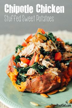Chipotle Chicken Stuffed Sweet Potatoes, grilled chicken with cinnamon and paprika, mixed it with kale, chopped red peppers and pumpkin seeds (Shredded Chicken Stuffed Peppers) Kale Recipes, Sweet Potato Recipes, Real Food Recipes, Chicken Recipes, Cooking Recipes, Healthy Recipes, Healthy Meals, Chicken Dips, Primal Recipes