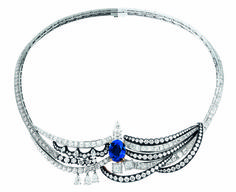 "Dior's New High Jewelry Collection ""Splendors of Versailles"" Important Blue Sapphire, Diamond, Platinum and Blackened Silver Necklace."