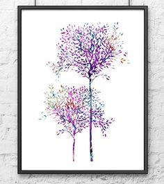 Baum-Aquarell-Kunstdruck - Baum Wand Kunst - Baum-Wohnkultur - Aquarellzeichnung