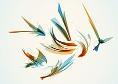 Colorful Flying Art Shapes Background