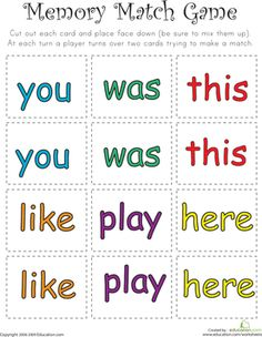 Help your child to strengthen his memory with this matching game that uses sight words to help with your child's memory and reading skills. Pre K Sight Words, Sight Words List, Dolch Sight Words, Spelling Words, Teaching Sight Words, Sight Word Practice, Sight Word Games, Kindergarten Reading Activities, Preschool Readiness