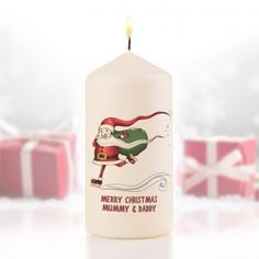 Personalised Skating Santa Christmas Candle
