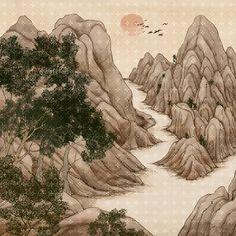 풍경, 그림, Sunrises, escarpment, 수묵화, 일러스트, 프리진, 전통, 한국그림, 페인터, 소나무, 문화예술, 동양화, 연도…