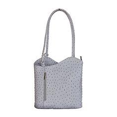 Multi-Way Light Grey Ostrich Leather Shoulder Bag/Backpack - Leather Shoulder Bag, Shoulder Bags, Italian Women, Italian Leather, Backpack Bags, Backpacks, Grey, Gray, Shoulder Bag