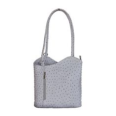 Multi-Way Light Grey Ostrich Leather Shoulder Bag/Backpack - £49.99