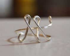 "initial ""M"" wire wrapped ring"