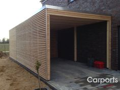 Carport with storage room made of larch side wall of untreated larch Rhom. - Carport with storage room made of larch untreated side wall made of larch Rhomboid-to Make - Carport With Storage, Carport Garage, Garage Doors, Carport Designs, Garage Door Design, Backyard Sheds, Modern Backyard, Building A Porch, Carports