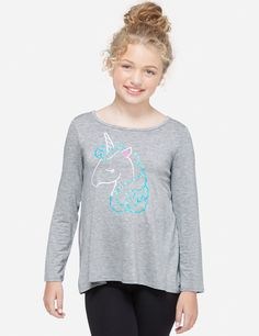 Justice Girl/'s Size 18-20 UNICORN Long Sleeve Swingy Graphic Tee New with Tags